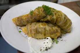 cabbage rolls, smoked labneh