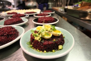 "Beetroot tarator with pistachios and soft quail egg / 7 Hills of Istanbul ""festive"" supper"