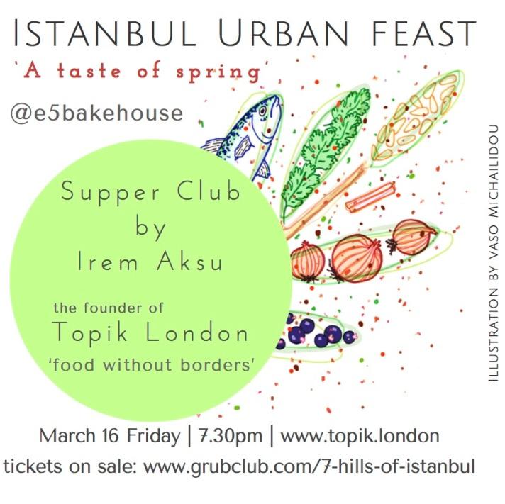 December 9 Saturday 7pm Arch 385 Mentmore Terrace E8 3PH For tickets menu details www.topik.londonIllustration by Vaso Michailidou-2