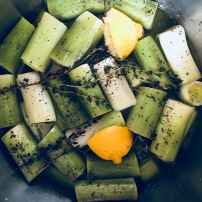Olive oil braised leeks