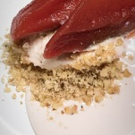 Quince, almond cream, walnut crumbs