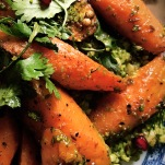 Freekeh, carob glazed carrots, corinader