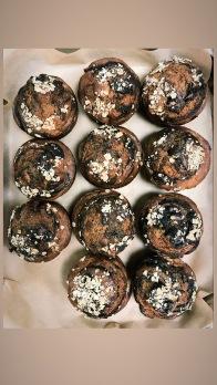 Vegan banana black tahini muffin